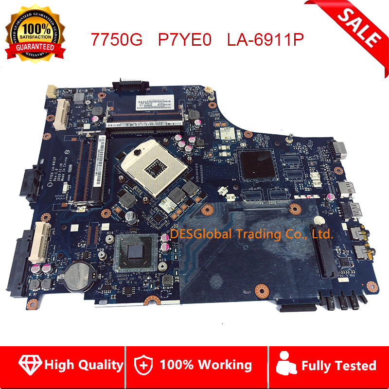 P7YE0 LA-6911P Laptop Motherboard For Acer Aspire 7750 AS7750 7750Z 7750G Mainboard MBRN802001 MB.RN802.001 HM65 Fully Tested