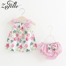 ZAFILLE Summer Toddler Infant Outfits Sets Floral Printed Baby Girl Clothes 2Pcs Sleeveless Top+Shorts Kids Clothes Girls Suits