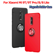 Magnetic holder Phone Case For Xiaomi Mi 9T finger ring stand case 8 lite Cover silicone pro magnet luxury
