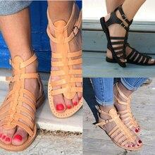 Женские сандалии-гладиаторы на плоской подошве с ремешками; летняя пляжная обувь; мягкая и удобная обувь; BB55