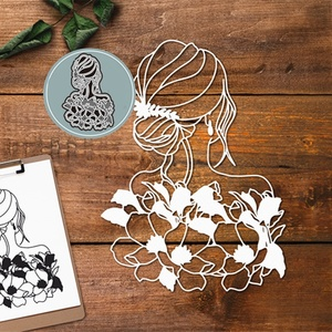 Crazyclown FLOWER LADY Metal Cutting Dies Stencils for DIY Scrapbooking Stamping Die Cuts Paper Cards Craft