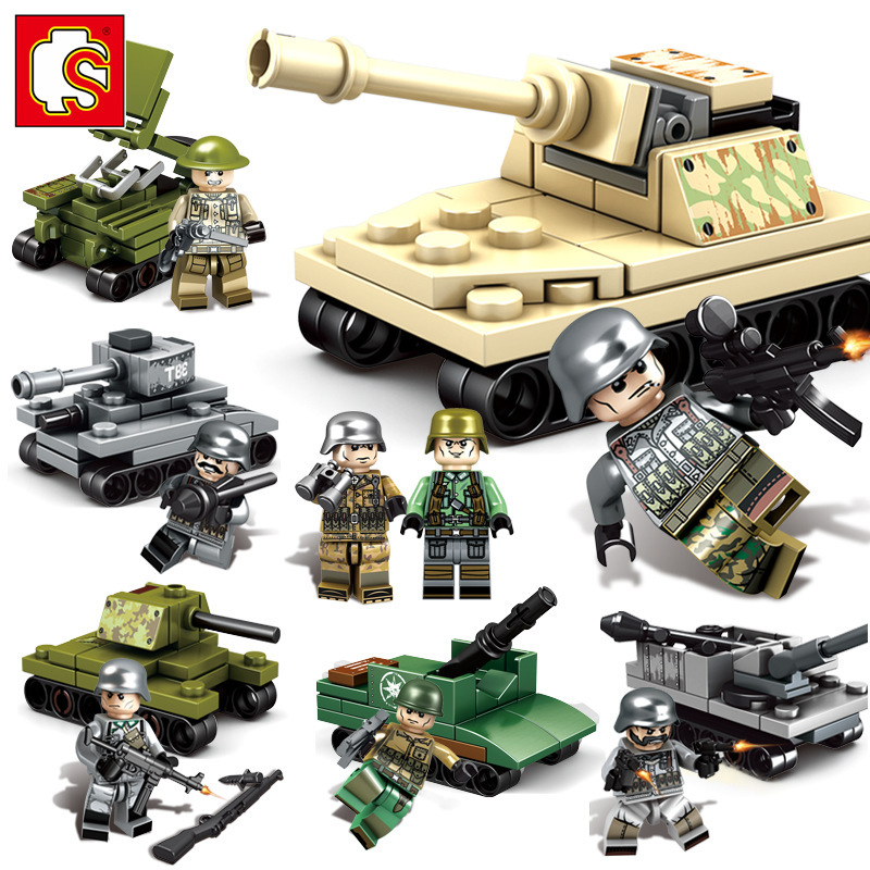 Senbao steel bridge Valentin Imperial 101055-101070 <font><b>tanks</b></font> toy building blocks children fight inserted boy image
