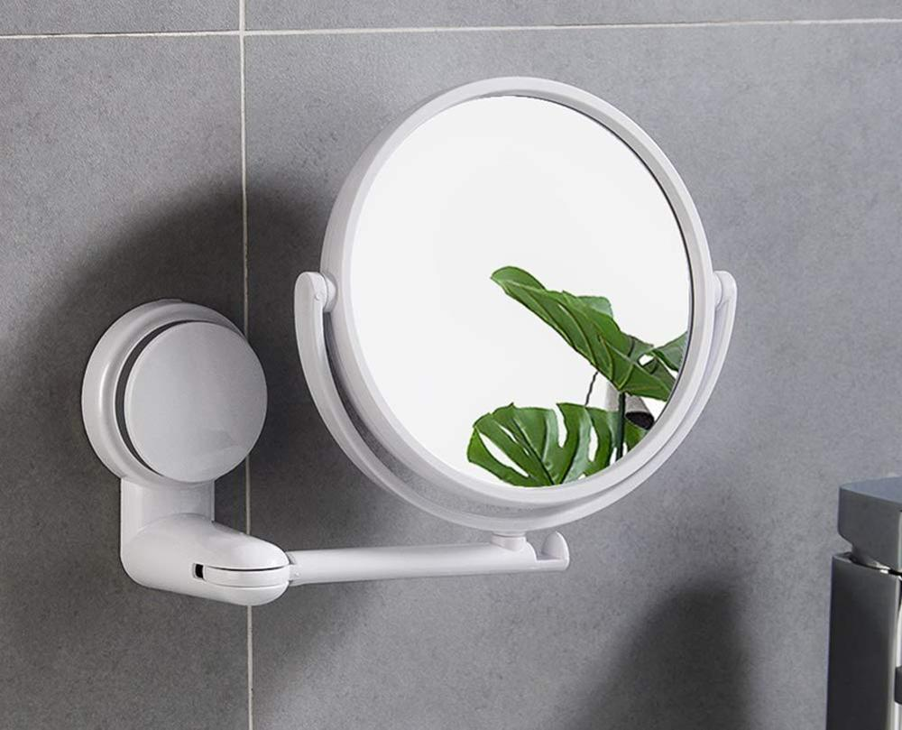 Folding Makeup Mirror Wall Mount Vanity Mirror Without Drill Swivel Bathroom Mirror Suction Folding Arm Extend Shaving Mirrors