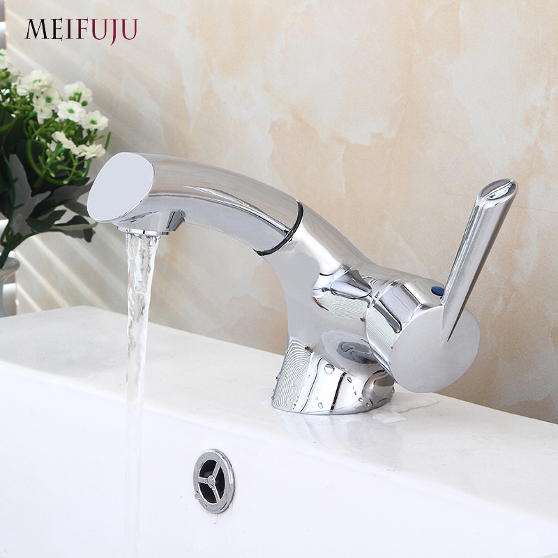 Pull Out Bathroom Basin Sink Faucet Single Handle Hot And Cold Water Crane Vessel Chrome Finished Sink Mixer Tap Kitchen Faucets Buy At The Price Of 48 79 In Aliexpress Com Imall Com
