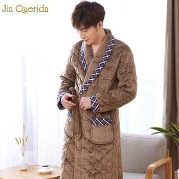 Luxury Men Robe Camel Embossing Pattern 3 Layer Padded Winter Bathrobe Long Sleeve Plus Size Belted Kimono Bath Robes Male Robes