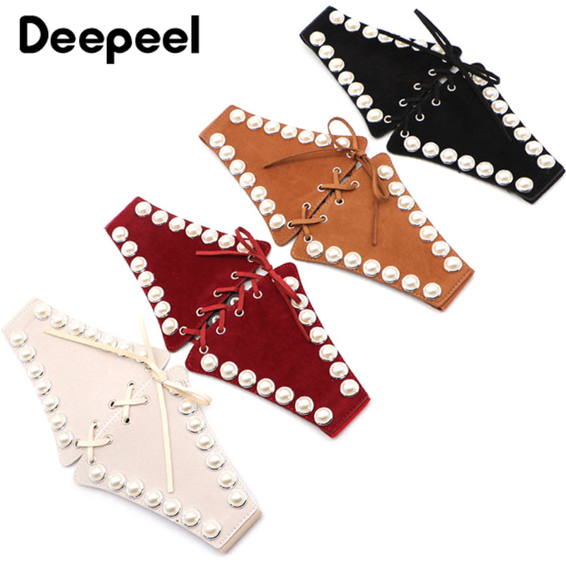 Deepeel 1pc 70cm Fashion Wild Pearl Elastic Cummerbunds Synthetic Leather Wide Belt For Women Stretch Band Coat Decoration CB041