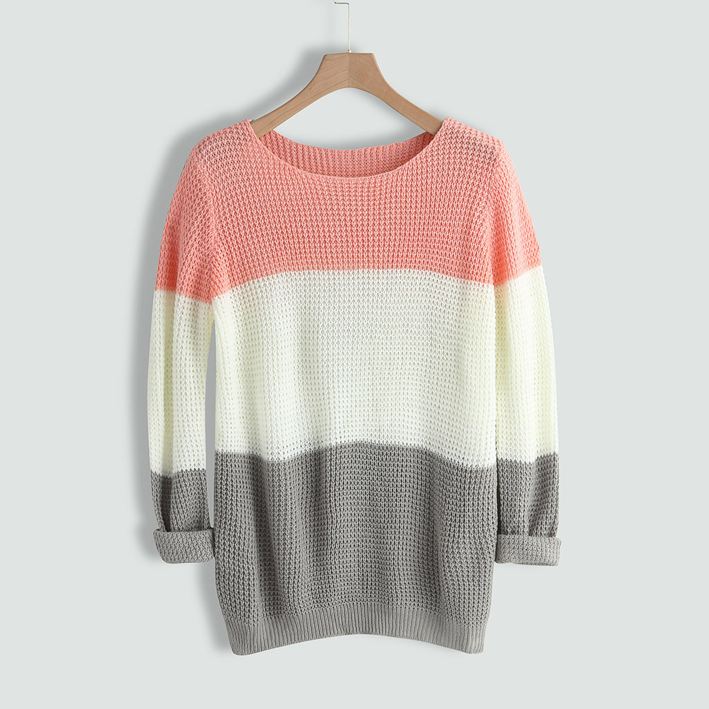 Knitted Sweater Womens O-neck Sweater Casual Knitted Loose Long Sleeve Tops Slim Fit Pullover Autumn New Women Sweater Casual