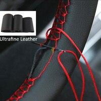 Protector para volante de coche con agujas e hilo, textura suave, accesorios para coche, 36/38/40CM