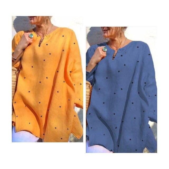 Jocoo Jolee Long Sleeve V Neck Stars Print Loose Blouse Casual Oversized Shirt 2020 New Elegant Tops Ladies Clothing 6