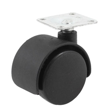 33mm Metal Mounted Plate 38mm Plastic Dual Wheel Rotatable Caster