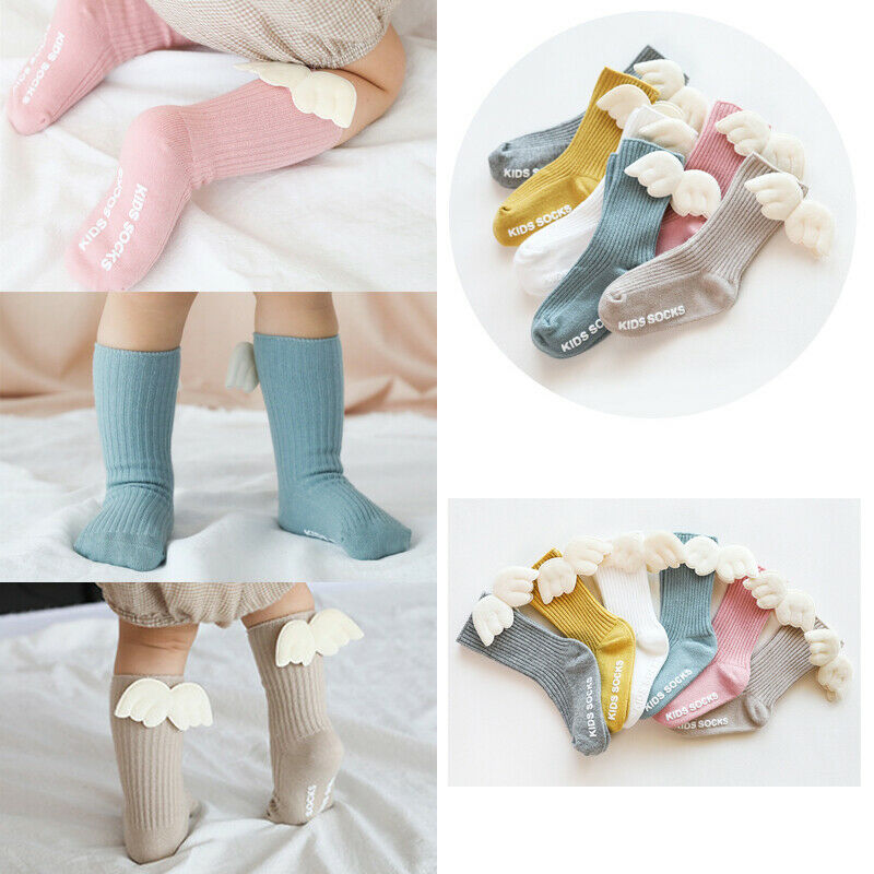 Fashion Toddler Baby Girls Socks Casual Cotton Long Socks Knee High Wing For 0-5 Years