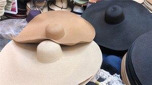 Image 5 - 01812 shi nouveau design été 25cm grand vent bord papier dame chapeau de soleil femmes loisirs vacances chapeau de plage