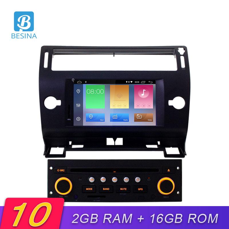 Besina Android 10.0 Car DVD Player For Citroen C4 C-Triomphe C-Quatre 2004-2009 Multimedia GPS Stereo 1Din Car Radio WIFI 2G+16G