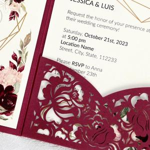 Image 5 - 100pcs Burgundy Laser Cut Floral Invitation Cards for Wedding / Party / Quinceanera / Anniversary /  Birthday, CW0008