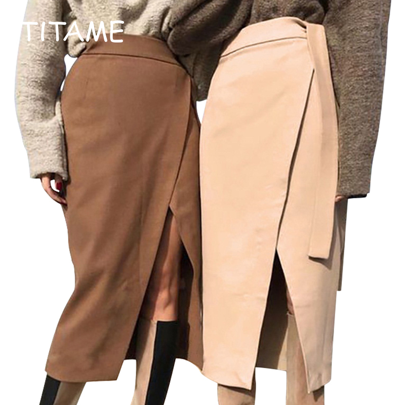 TITAME Womens Spring Skirt Irregular Slit Female Brown  Warm Clothes   Lace-up Wrap Work Office Long Skirts
