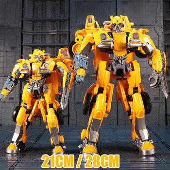 BMB czarna Mamba 28CM Oversize transformacja zabawki film 5 żółty samochód Robot figurki zabawka Anime dzieci H6003-5 H6001-3 tanie i dobre opinie Model 7-12y 12 + y CN (pochodzenie) Unisex Wyroby gotowe Roboty Z tworzywa sztucznego Produkty na stanie