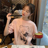 Sailor Moon 90s Funny Pink T Shirt Harajuku Tshirt Aesthetic Cat Anime Fashion T-shirt Kawaii Graphic Ullzang Women Top Clothes