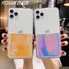 Lujosa carcasa brillante para teléfono móvil iPhone, carcasa transparente con tarjetero láser para iPhone 11 Pro Max X XR XS Max 12 Mini 7 8 Plus SE 2020