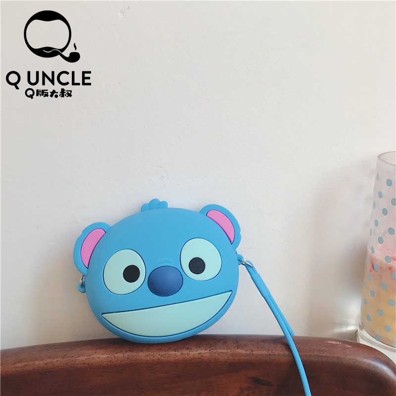 Q UNCLE Cartoon Stitch 3D Styling Bag Small Mini Pouch Coin Purse Key Bag Pendant Decoration Zipper Silicone Chain Crossbody Bag