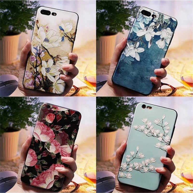 3D Emboss Painted case for Oneplus 6 6T 7 7PRO Fashion Flowers Pattern Silicone Phone case on for Oneplus 3 5 5T Cover Coque