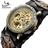SHENHUA Retro Gothic Bronze Skeleton Automatic Mechanical Watch Men Steampunk Self Winding Clock Tourbillon Watch Reloj Hombre