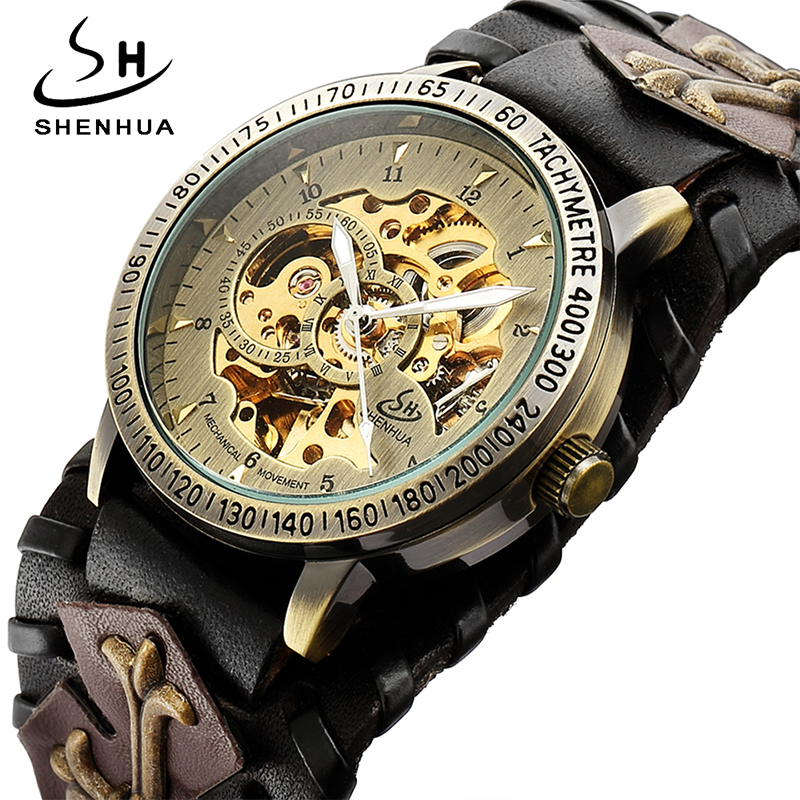 SHENHUA Retro Gothic Bronze Skeleton Automatische Mechanische Uhr Männer Steampunk Selbst Wickel Uhr Tourbillon Uhr Reloj Hombre