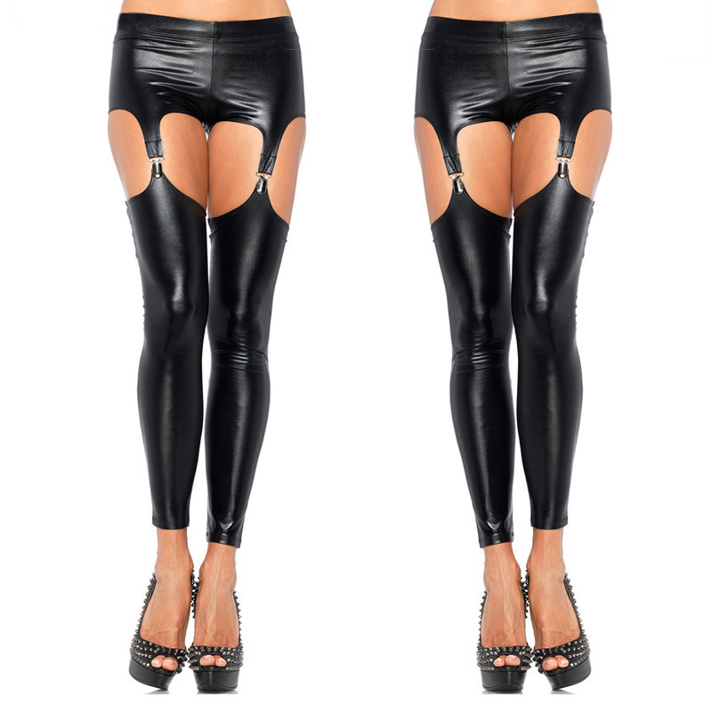 2019 Sexy Shiny Punk Gothic Faux Leather Leggings Erotic Wet Look PVC Leggings Hollow Out Temptation Slim Latex Pants Trouser image
