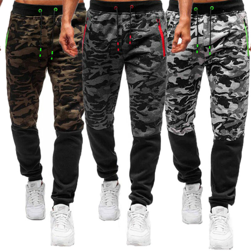 Men Sport Pants Long Trousers Tracksuit Casual Zipper Pocket Fitness Workout Joggers Gym Sweatpants M-XXXL