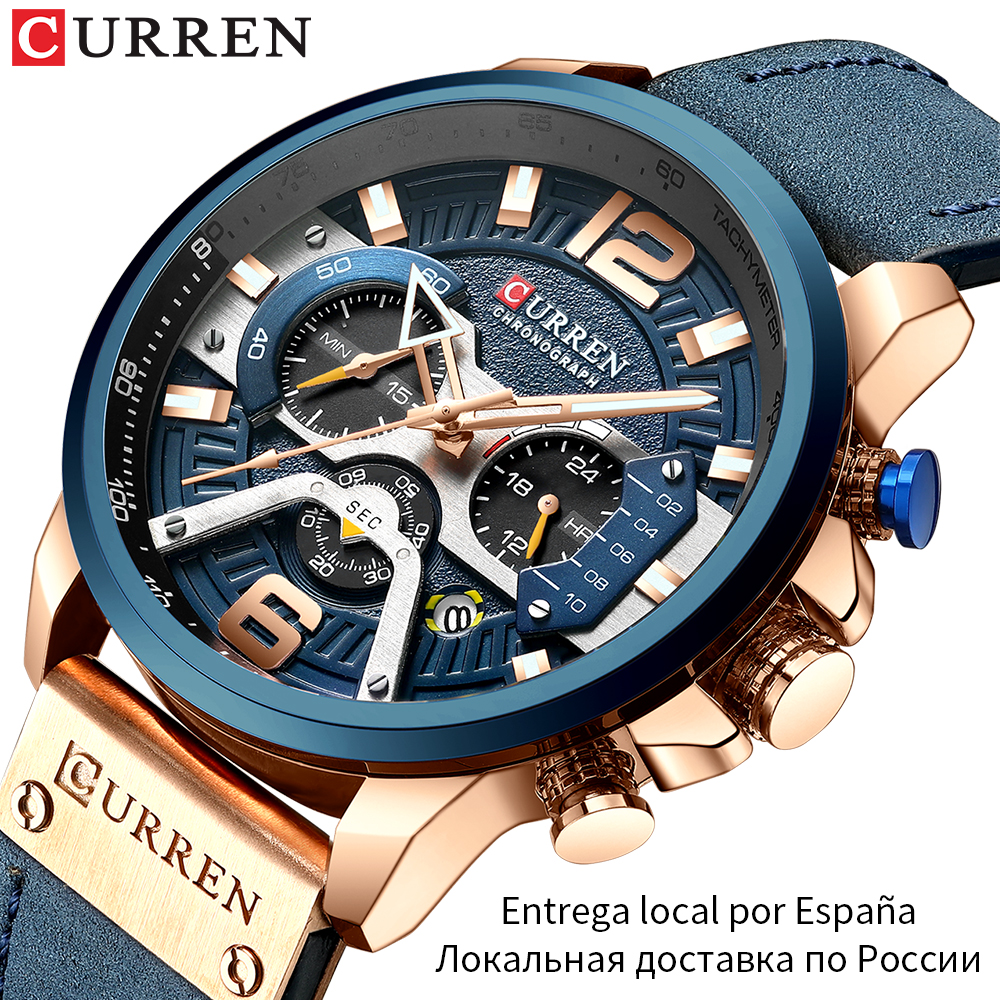 Wristwatch Mens CURREN 2019 Top Brand Luxury Sports Watch Men Fashion Leather Watches with Calendar for Men Black Male Clock 1