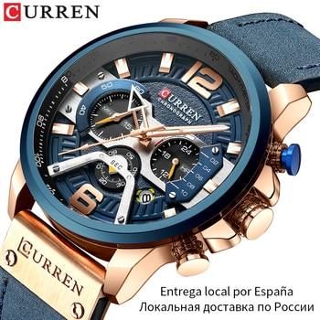 Relógio de pulso Curren de couro desportivo masculino – estilo militar – cronógrafo – azul