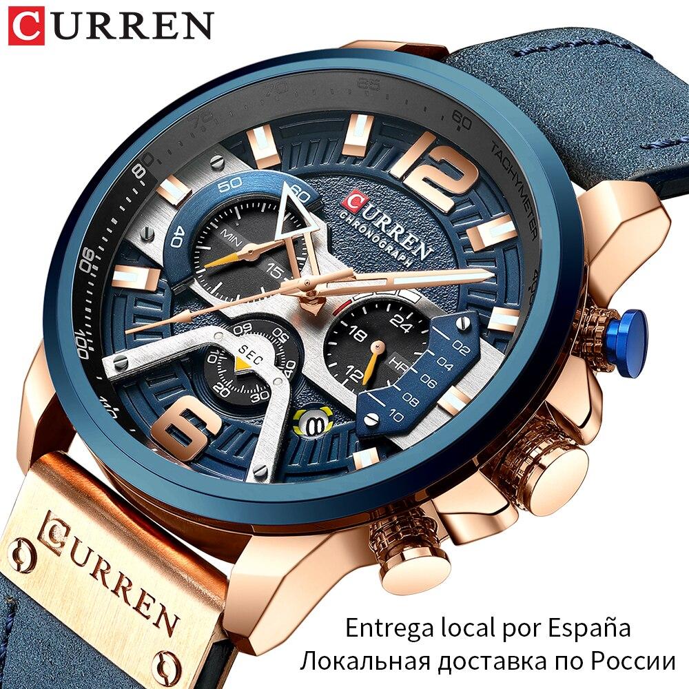 Zegarek męski CURREN 2019 Top marka luksusowy zegarek sportowy mężczyźni moda skórzane zegarki z kalendarzem dla mężczyzn czarny mężczyzna zegar