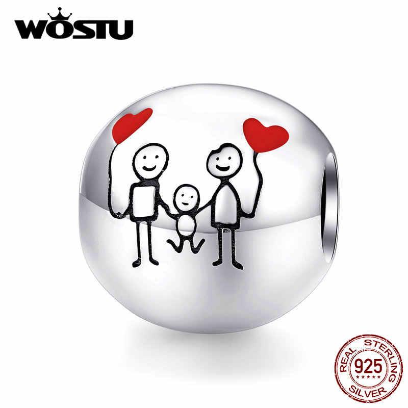WOSTU Happy Family ลูกปัด 925 เงินสเตอร์ลิงครอบครัว Charms พอดีสร้อยข้อมือเดิมจี้หัวใจ Lucky เครื่องประดับ DXC1339