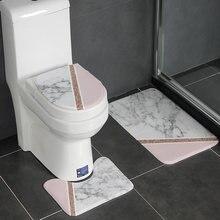 Tapis De Salle De Bain antidérapant en flanelle, lavable, moderne, géométrique, ensemble De Tapis De sol, couvercle De toilette, WC