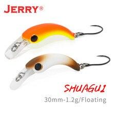 Jerry shuagui ultraleve fiação único gancho wobbler duro isca 1.2g 30mm micro plug flutuante crankbait truta pesca de água doce