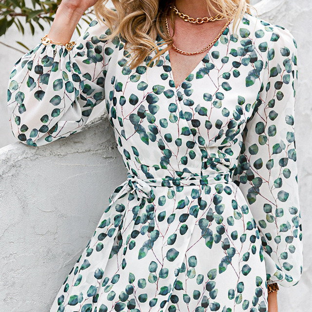 Sexy Summer Dress 2021 Women Spring Summer Long Sleeve Print A-line Women's V-neck Print Slim Dresses Vestidos Robe Female  6