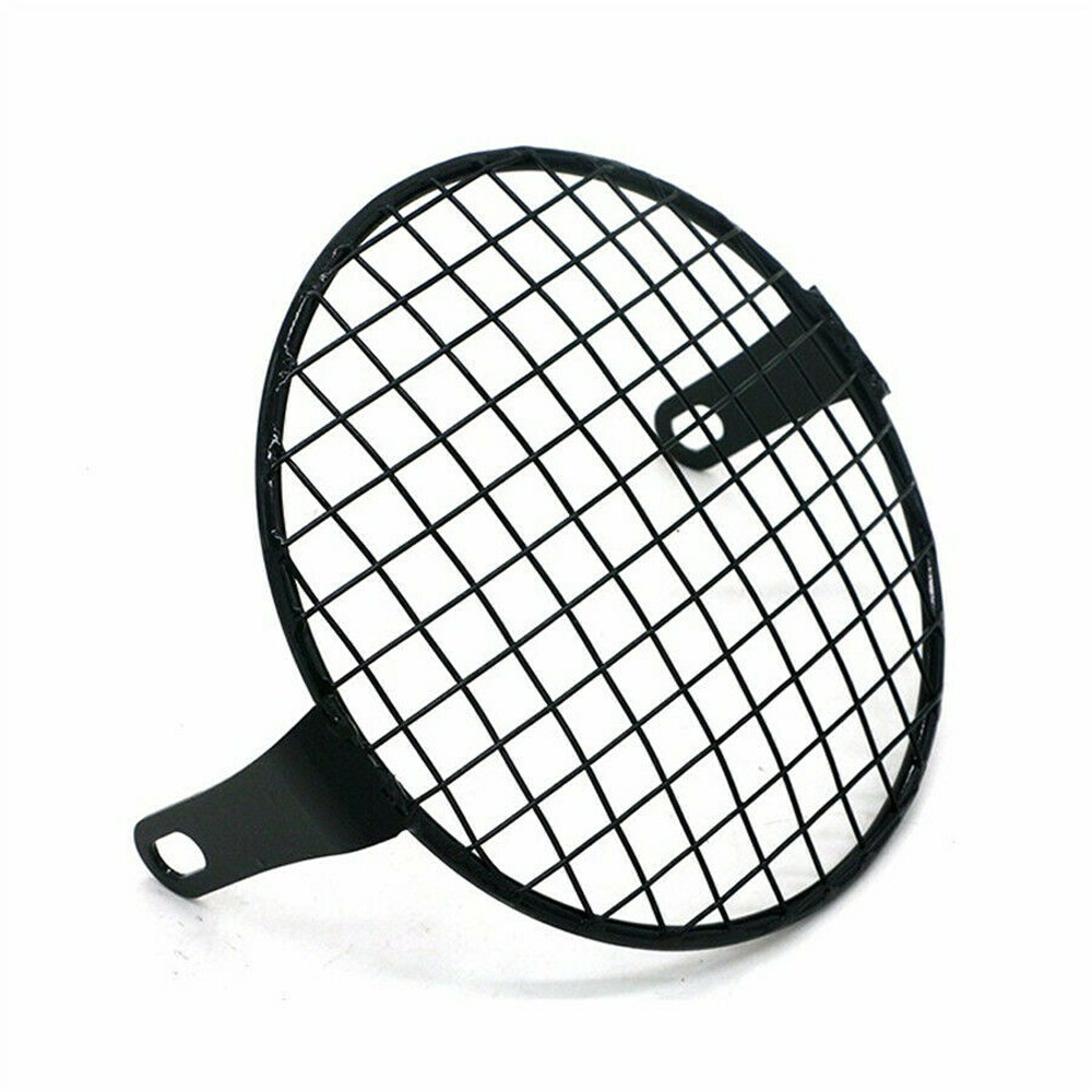 Black 1pc 7 Inch Metal Retro Motorcycle Headlight Lamp Mesh Grille Cover Mask