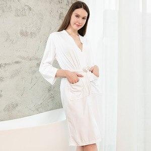 Image 2 - プラスサイズの女性着物浴衣ロングパジャマワッフル花嫁介添人ウエディングローブセクシーなネグリジェ女性固体ナイトウェア