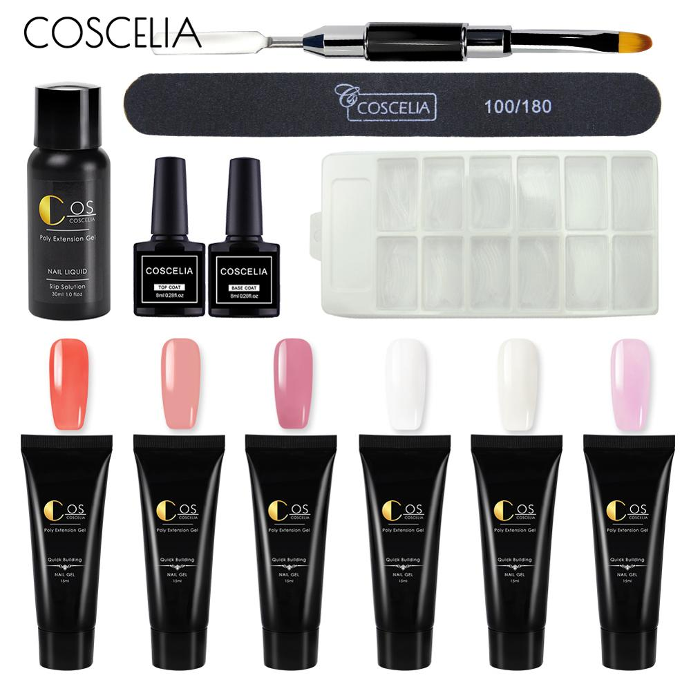 COSCELIA 6 PC Poly Gel Kit Nail Builder Gel Varnish Polish Poly Gel Quick Nail Extension Hard Gel Solution Nail Art Set Manicure