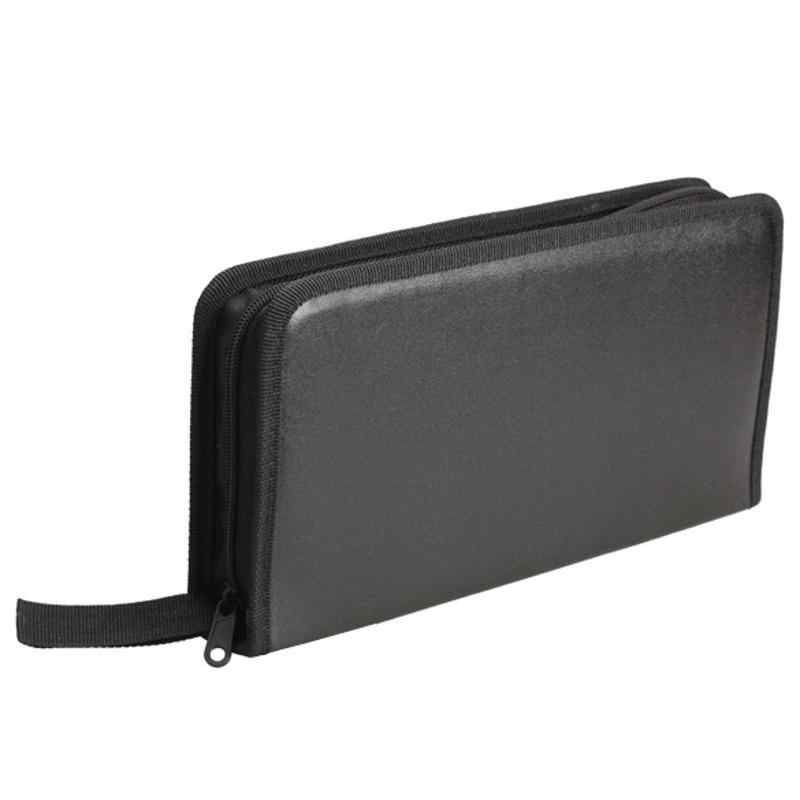Portable 80 discos CD VCD DVD bolsa de almacenamiento cartera soporte caja negro CD soporte bolsa de transporte funda DJ Faux organizador de cuero cartera