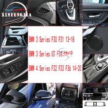Für BMW 3 4 Serie 3GT F34 F36 F30 13 18 Carbon Faser Auto Geändert Schmücken Air Vent Outlet rahmen Getriebe Shift Panel Innen Trim
