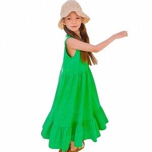 YourSeason/Новинка 2020 года; Сарафан для девочек; Летние хлопковые Макси-платья для отдыха; Повседневная одежда с эластичной резинкой на талии для...