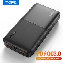 TOPK – Power Bank, 20000 mAh, batterie externe portable, chargeur USB de Type C, PD 3.0, Quick Charge 3.0, charge rapide pour Xiaomi