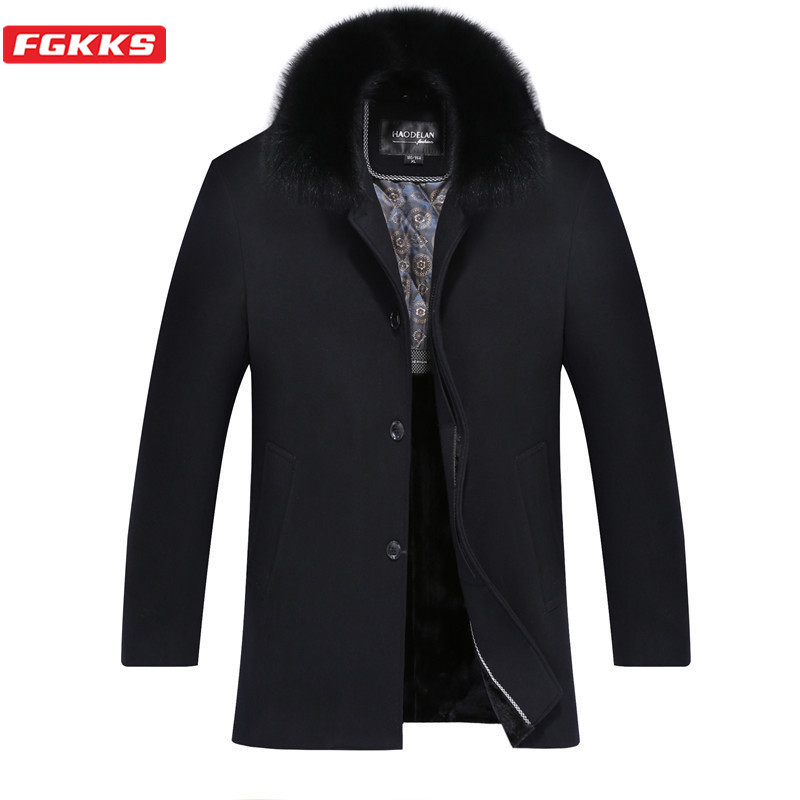 FGKKS Winter Brand Men Wool Blend Coats Men's High Quality Fashion Wool Overcoat Thick Warm Fur Collar Wool Coat Male