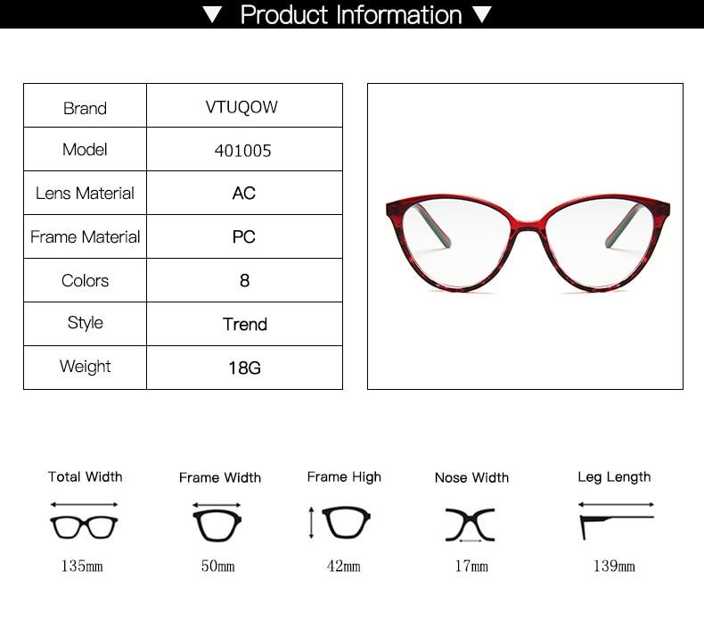 New Retro Cat Eye Women Glasses Frame Anti Blue Light Lady Eyeglasses Frame myopia Vintage Clear Glasses Optical Spectacle Frame (4)