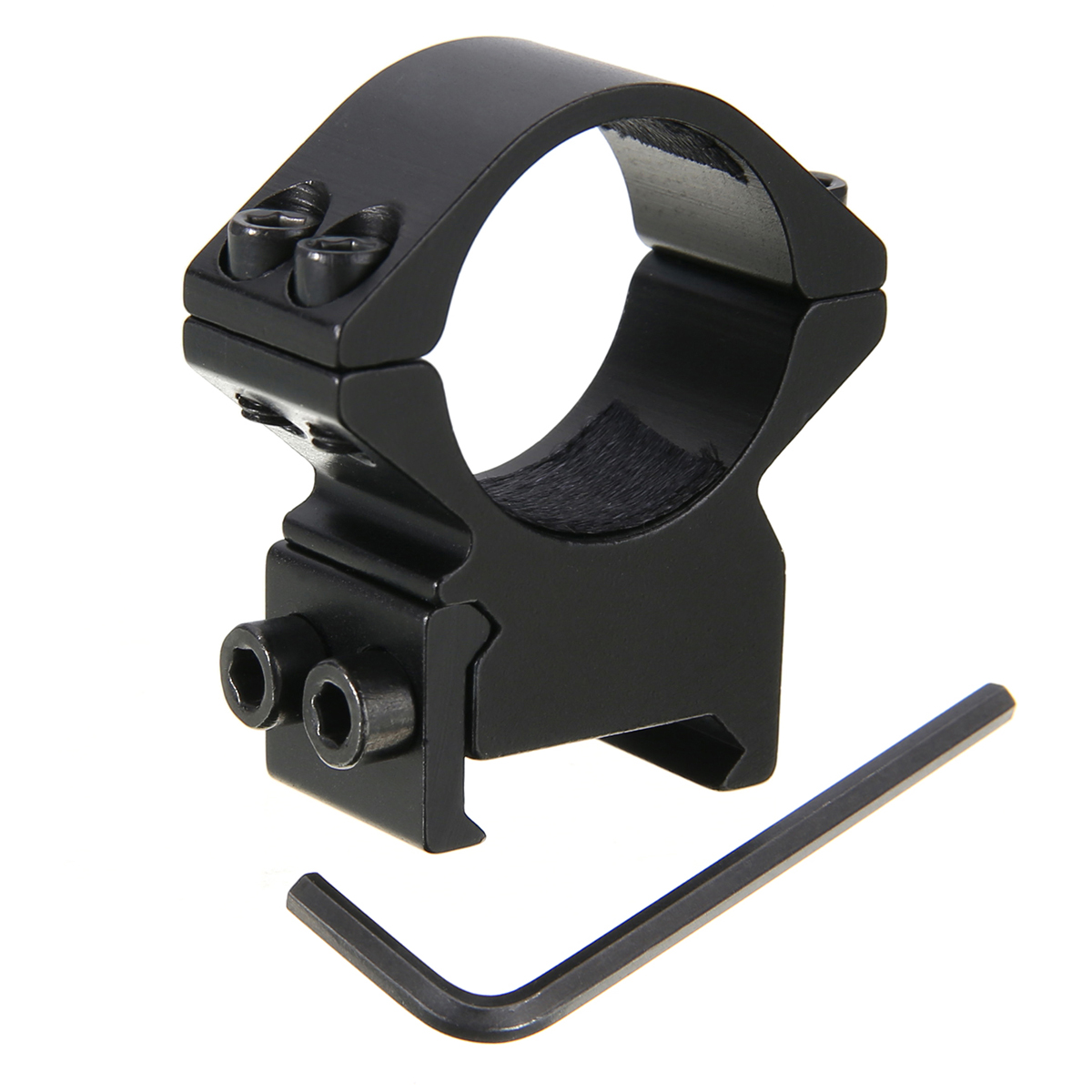 Outdoor Ring Sight Scope Sport Hunting Flashlight Metal Barrel Mount Bracket Black Shock Absorption With Wrench