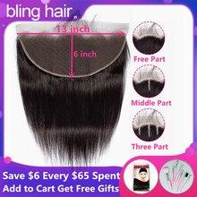 Bling волос Бразильский прямые волосы 13x6 Кружева Фронтальная застежка человеческих волос парики из натуральных волос на кружевной Застежка /средний/три части натуральный Цвет