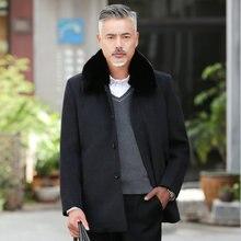 Men Winter Wool Blend Coats Navy Blue Gray Fur Collar Overcoats Male Elegant Single Breasted Woollen Outerwear Mens Garment 2019