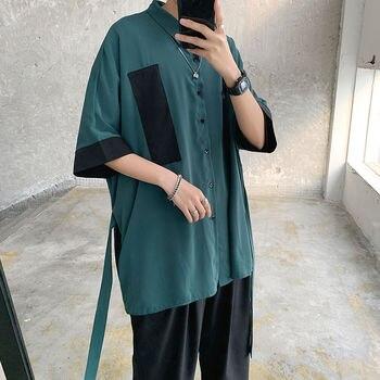 цена Korean Shirt Men's Fashion Dress Shirt Men Contrast Color Business Casual Shirt Mens Streetwear Wild Loose Short Sleeve Shirt онлайн в 2017 году