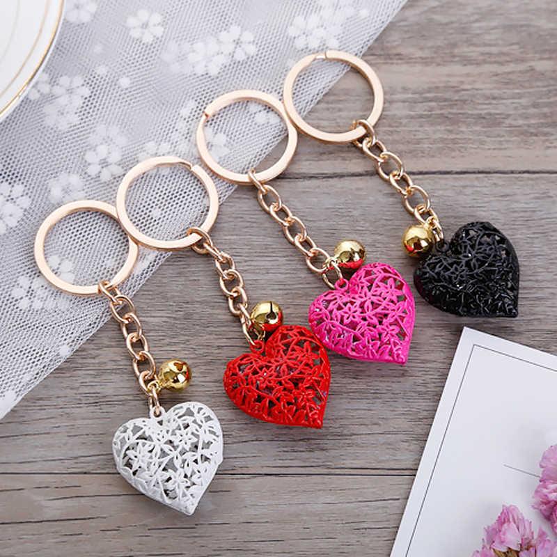 Moda Charm sevimli çanta çanta kolye araba anahtarlığı zincir süsler asılı sevgililer günü hediye anahtarlıklar içi boş kalp anahtarlıklar