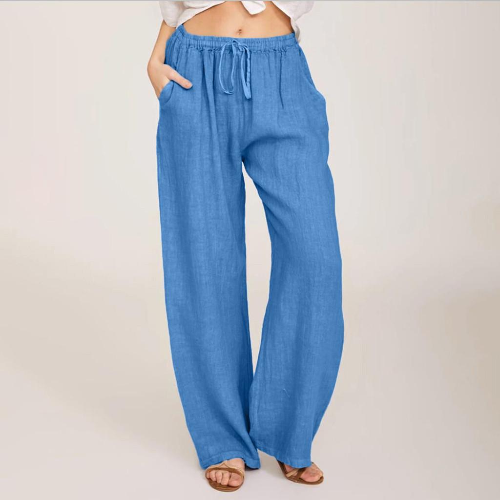 Summer Fashion Pants Plus Size 3xl Women Casual Solid Cotton Linen Pockets Loose Drawstring Elastic Waist Long Wide Leg Trousers BLACK S China